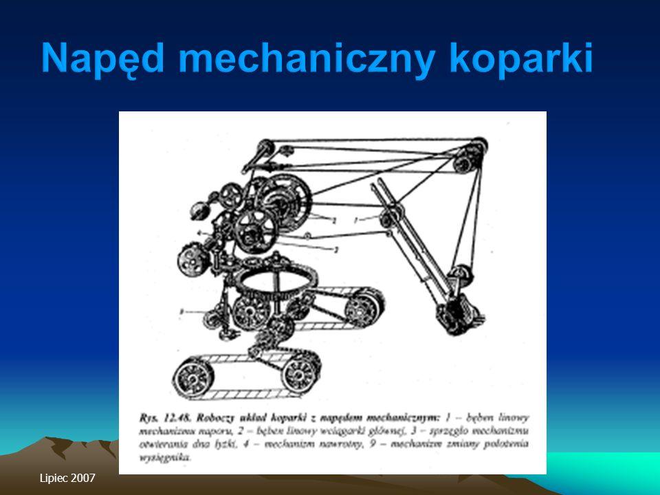 Napęd mechaniczny koparki
