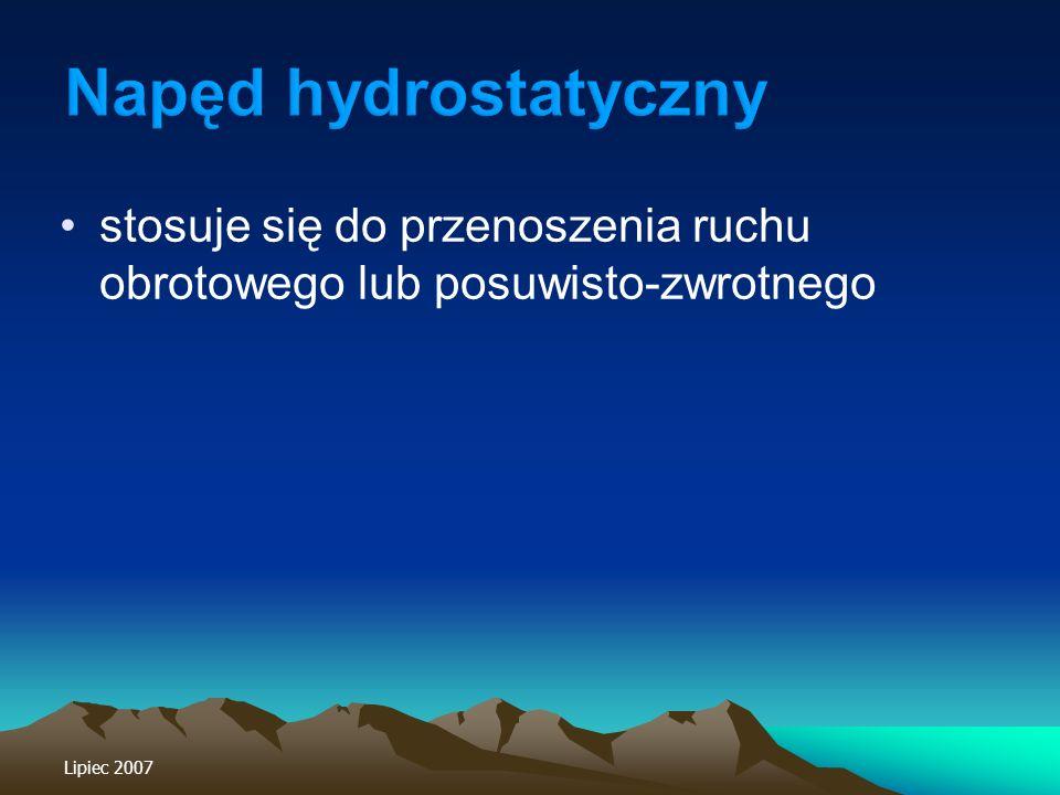 Napęd hydrostatyczny stosuje się do przenoszenia ruchu obrotowego lub posuwisto-zwrotnego.