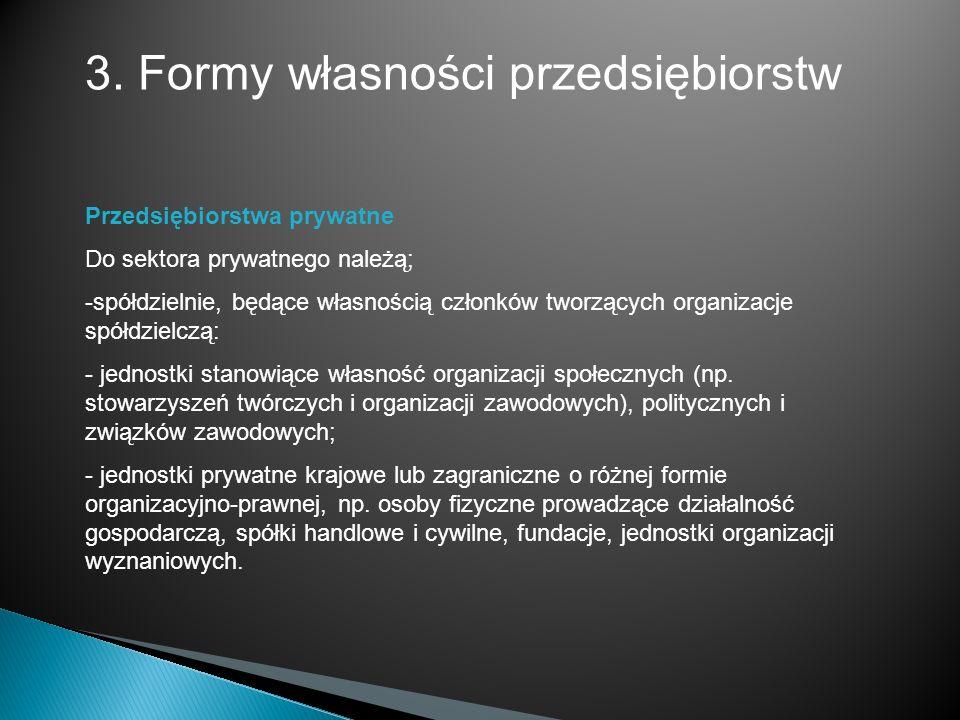 3. Formy własności przedsiębiorstw