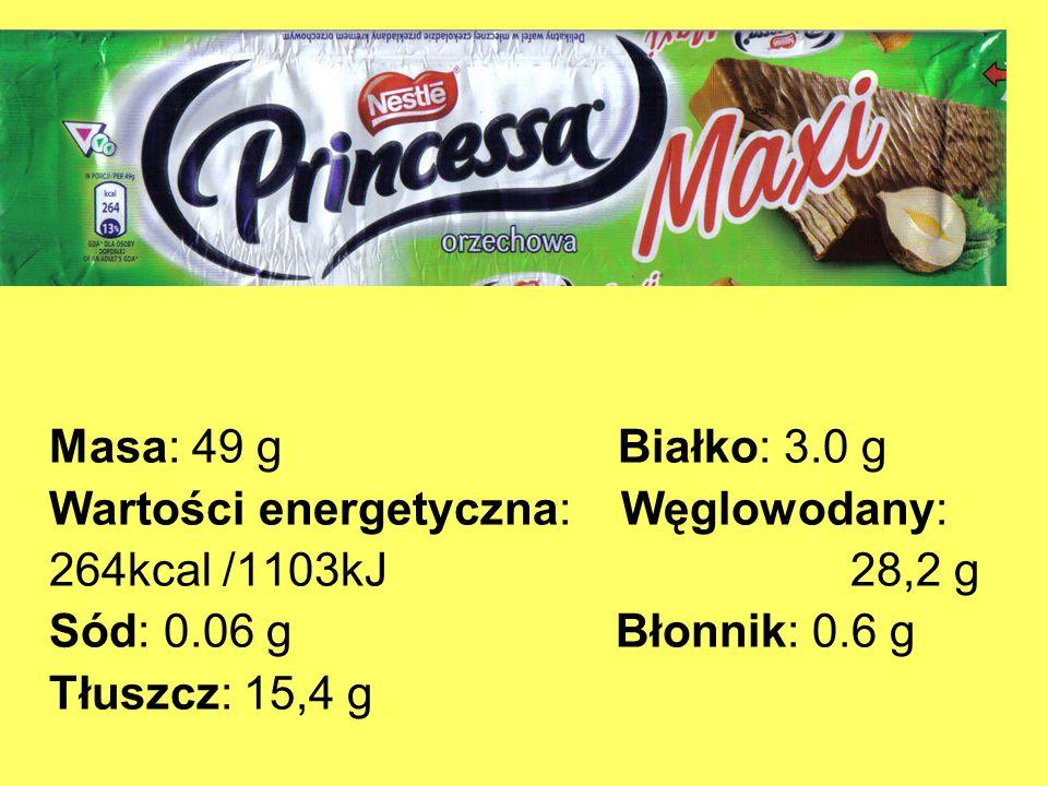 Masa: 49 g Białko: 3.0 g Wartości energetyczna: Węglowodany: 264kcal /1103kJ 28,2 g.