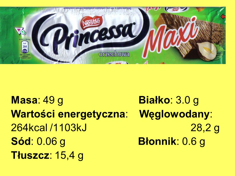 Masa: 49 g Białko: 3.0 gWartości energetyczna: Węglowodany: 264kcal /1103kJ 28,2 g.