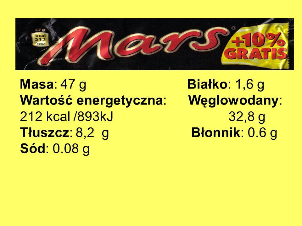 Wartość energetyczna: Węglowodany: 212 kcal /893kJ 32,8 g