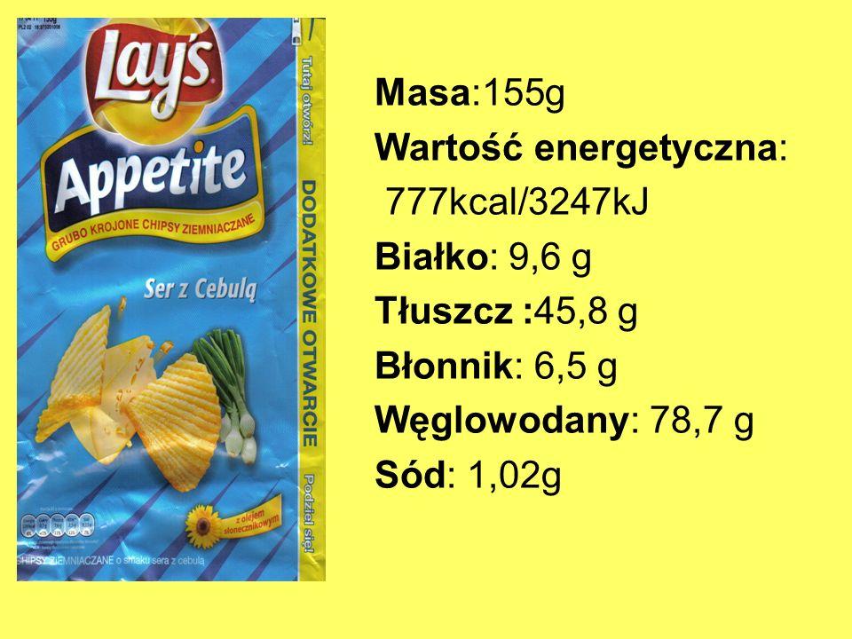 Masa:155g Wartość energetyczna: 777kcal/3247kJ. Białko: 9,6 g. Tłuszcz :45,8 g. Błonnik: 6,5 g.