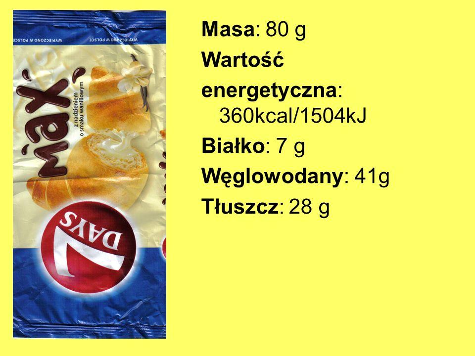 Masa: 80 g Wartość energetyczna: 360kcal/1504kJ Białko: 7 g Węglowodany: 41g Tłuszcz: 28 g
