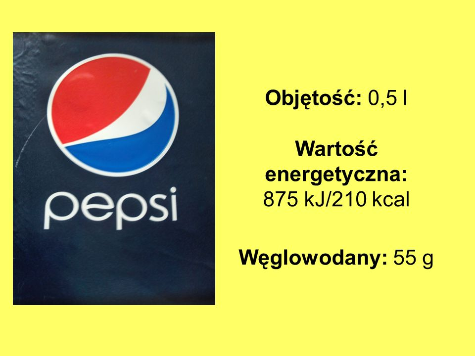 Objętość: 0,5 l Wartość energetyczna: 875 kJ/210 kcal Węglowodany: 55 g