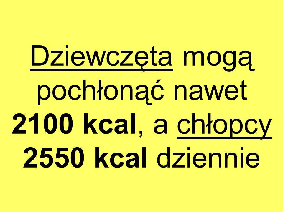 Dziewczęta mogą pochłonąć nawet 2100 kcal, a chłopcy 2550 kcal dziennie
