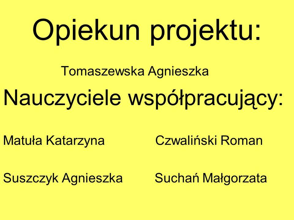 Opiekun projektu: Nauczyciele współpracujący: Tomaszewska Agnieszka