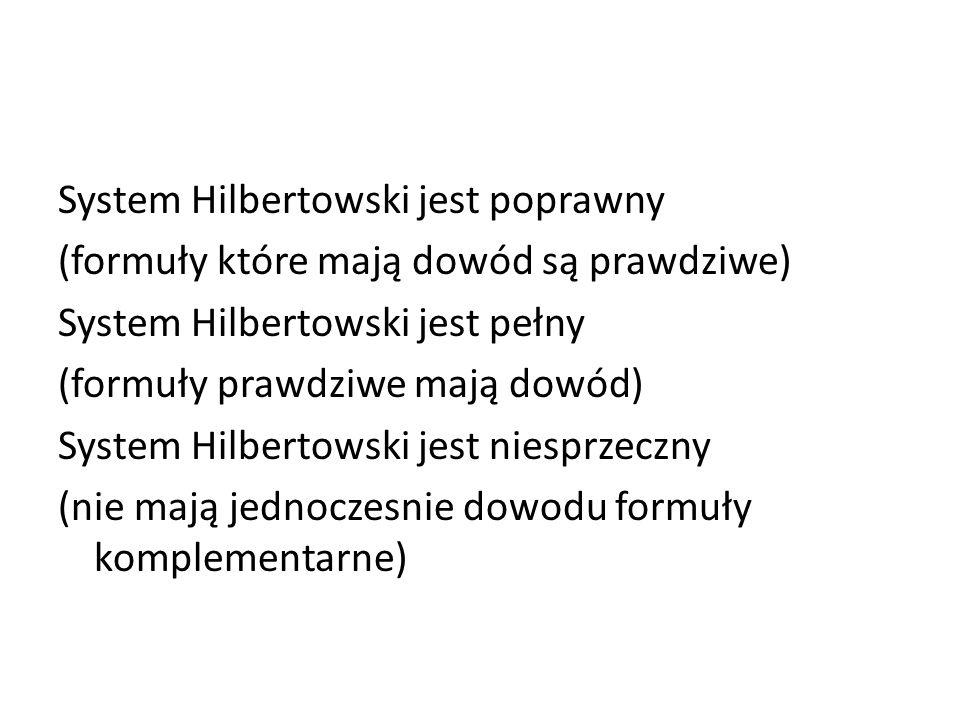System Hilbertowski jest poprawny (formuły które mają dowód są prawdziwe) System Hilbertowski jest pełny (formuły prawdziwe mają dowód) System Hilbertowski jest niesprzeczny (nie mają jednoczesnie dowodu formuły komplementarne)