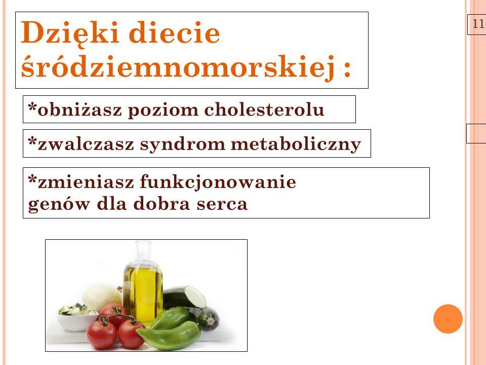 Dzięki diecie śródziemnomorskiej : *obniżasz poziom cholesterolu