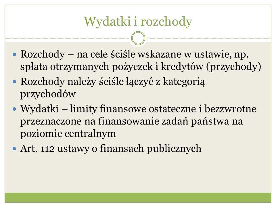 Wydatki i rozchody Rozchody – na cele ściśle wskazane w ustawie, np. spłata otrzymanych pożyczek i kredytów (przychody)