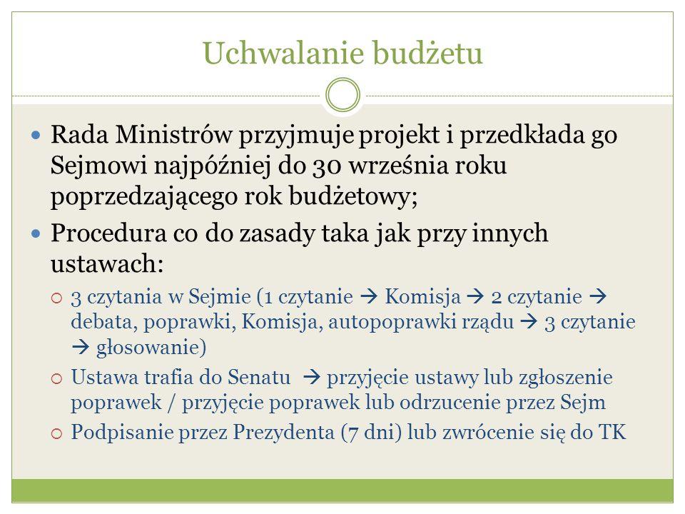 Uchwalanie budżetu Rada Ministrów przyjmuje projekt i przedkłada go Sejmowi najpóźniej do 30 września roku poprzedzającego rok budżetowy;