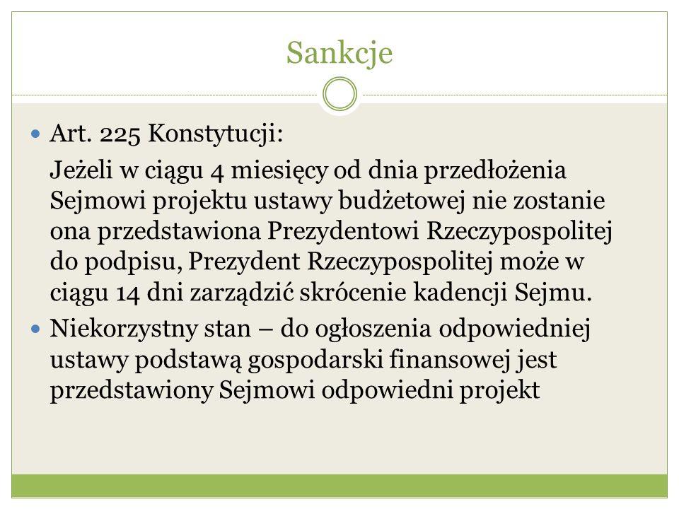 Sankcje Art. 225 Konstytucji: