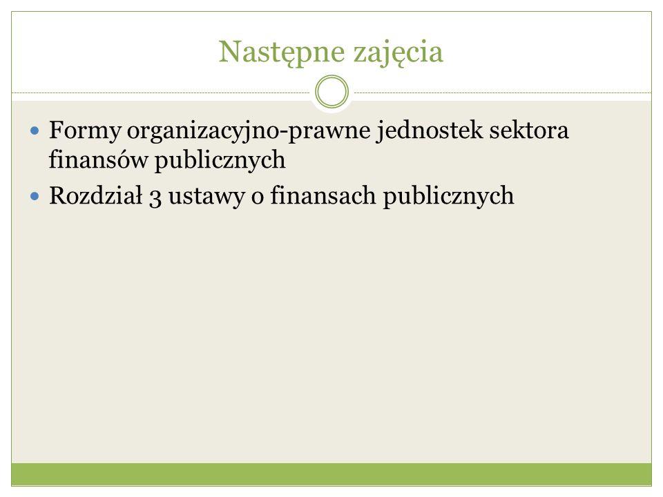 Następne zajęcia Formy organizacyjno-prawne jednostek sektora finansów publicznych.
