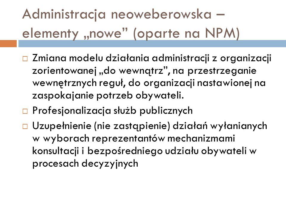 """Administracja neoweberowska – elementy """"nowe (oparte na NPM)"""