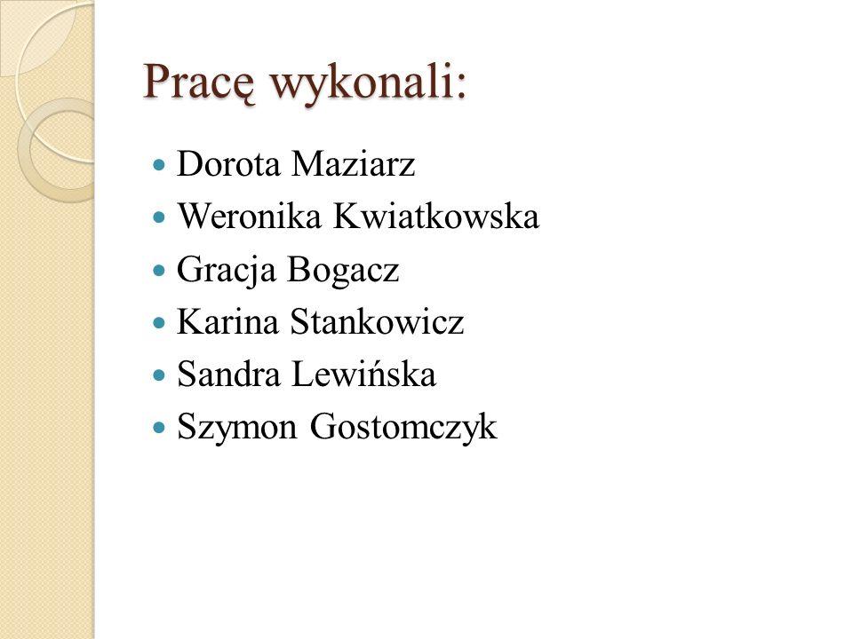 Pracę wykonali: Dorota Maziarz Weronika Kwiatkowska Gracja Bogacz