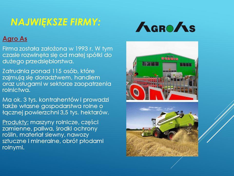 Największe firmy: Agro As