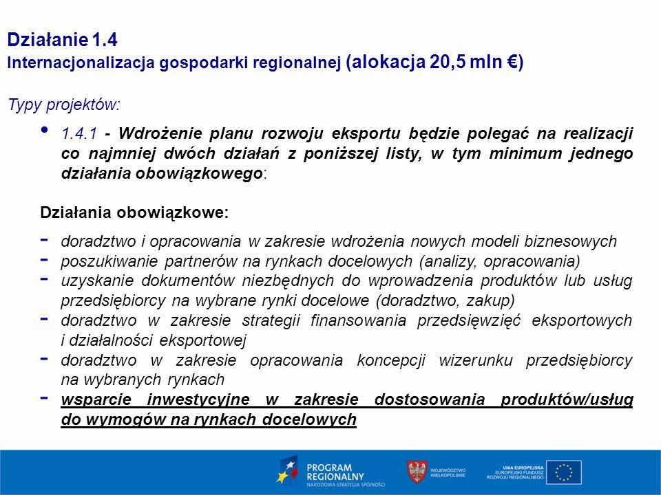 1616 Działanie 1.4. Internacjonalizacja gospodarki regionalnej (alokacja 20,5 mln €) Typy projektów: