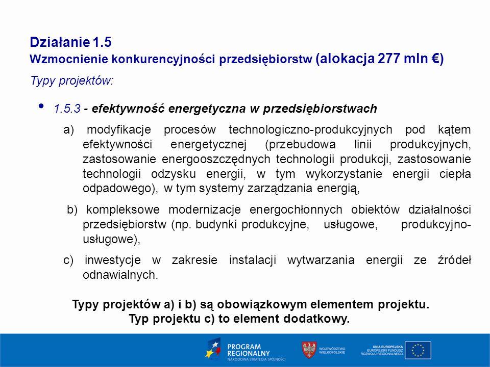 Działanie 1.5 Wzmocnienie konkurencyjności przedsiębiorstw (alokacja 277 mln €) Typy projektów: