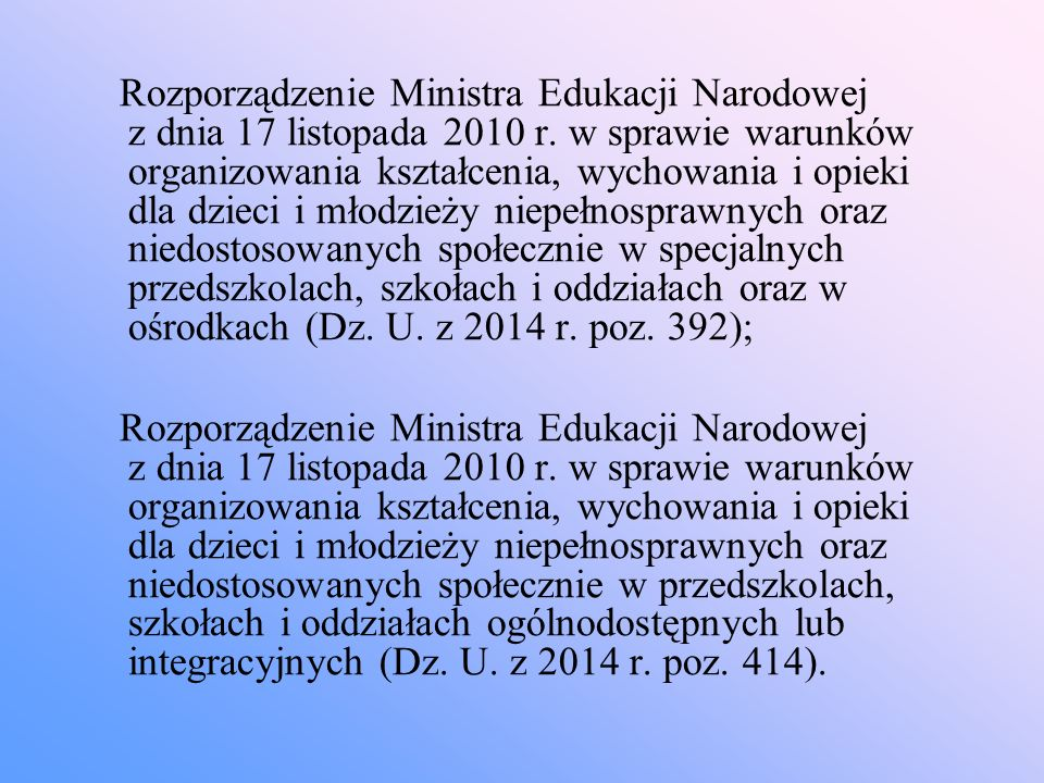 Rozporządzenie Ministra Edukacji Narodowej z dnia 17 listopada 2010 r