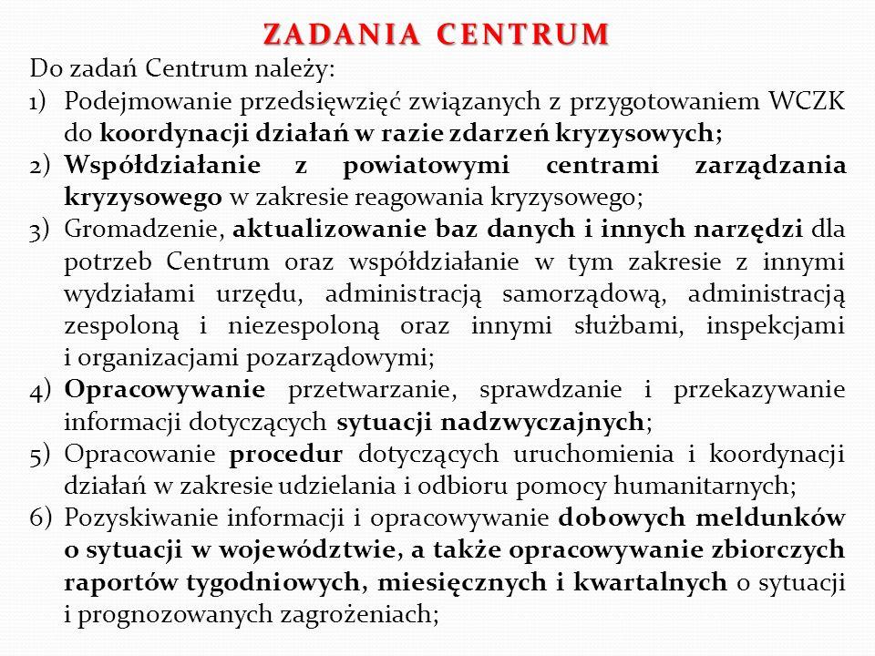ZADANIA CENTRUM Do zadań Centrum należy: