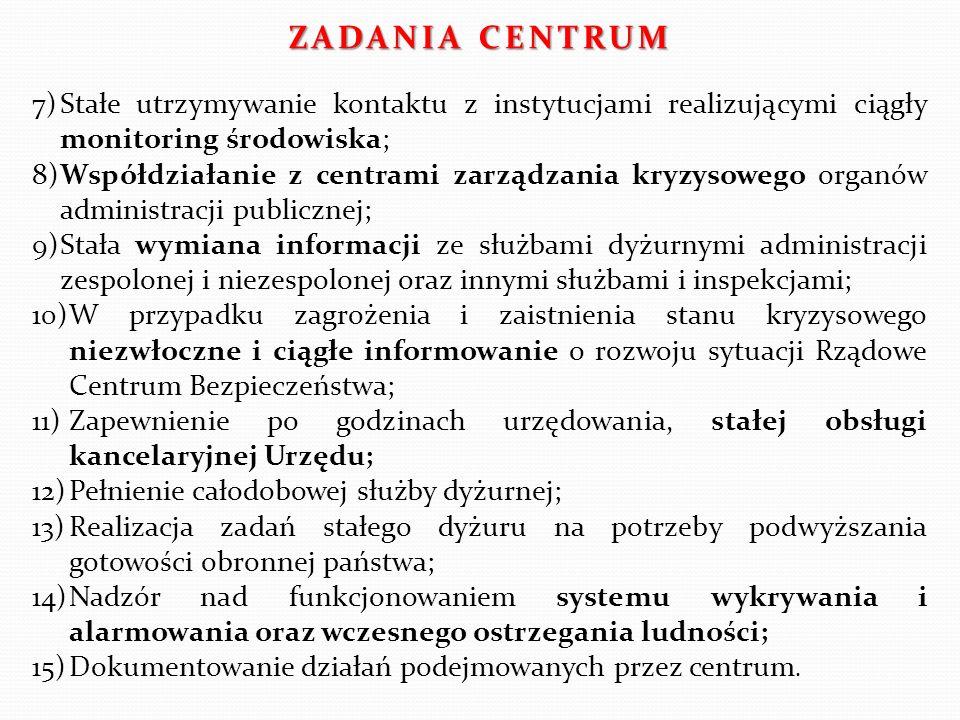 ZADANIA CENTRUM 7) Stałe utrzymywanie kontaktu z instytucjami realizującymi ciągły monitoring środowiska;