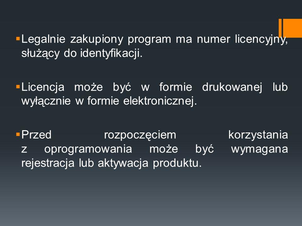 Legalnie zakupiony program ma numer licencyjny, służący do identyfikacji.