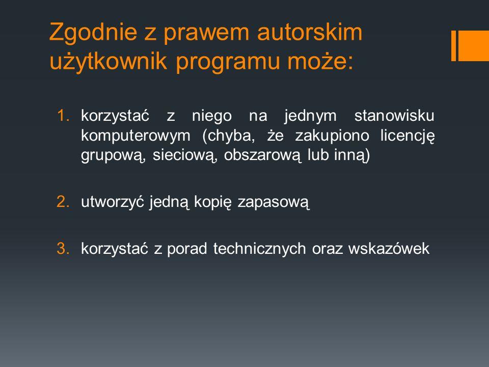 Zgodnie z prawem autorskim użytkownik programu może: