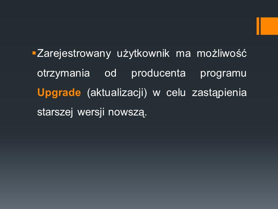 Zarejestrowany użytkownik ma możliwość otrzymania od producenta programu Upgrade (aktualizacji) w celu zastąpienia starszej wersji nowszą.