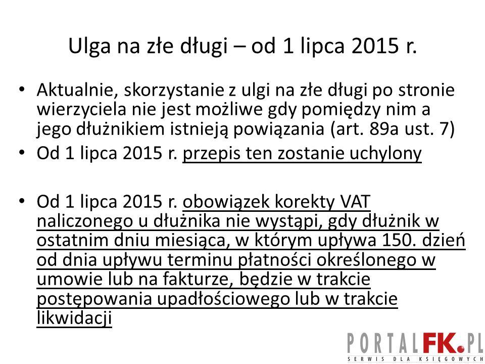 Ulga na złe długi – od 1 lipca 2015 r.