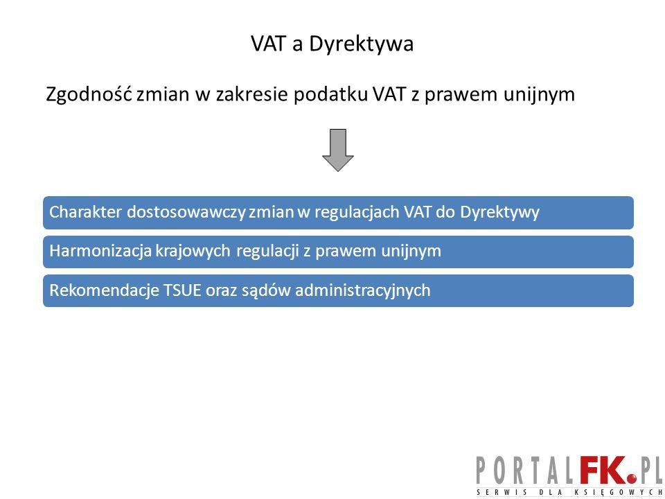 VAT a Dyrektywa Zgodność zmian w zakresie podatku VAT z prawem unijnym