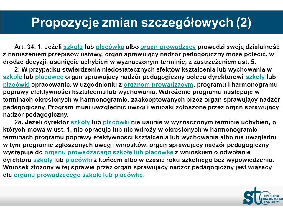 Propozycje zmian szczegółowych (2)