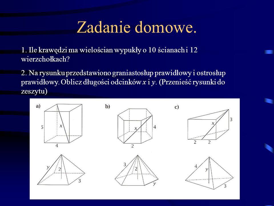 Zadanie domowe. 1. Ile krawędzi ma wielościan wypukły o 10 ścianach i 12 wierzchołkach