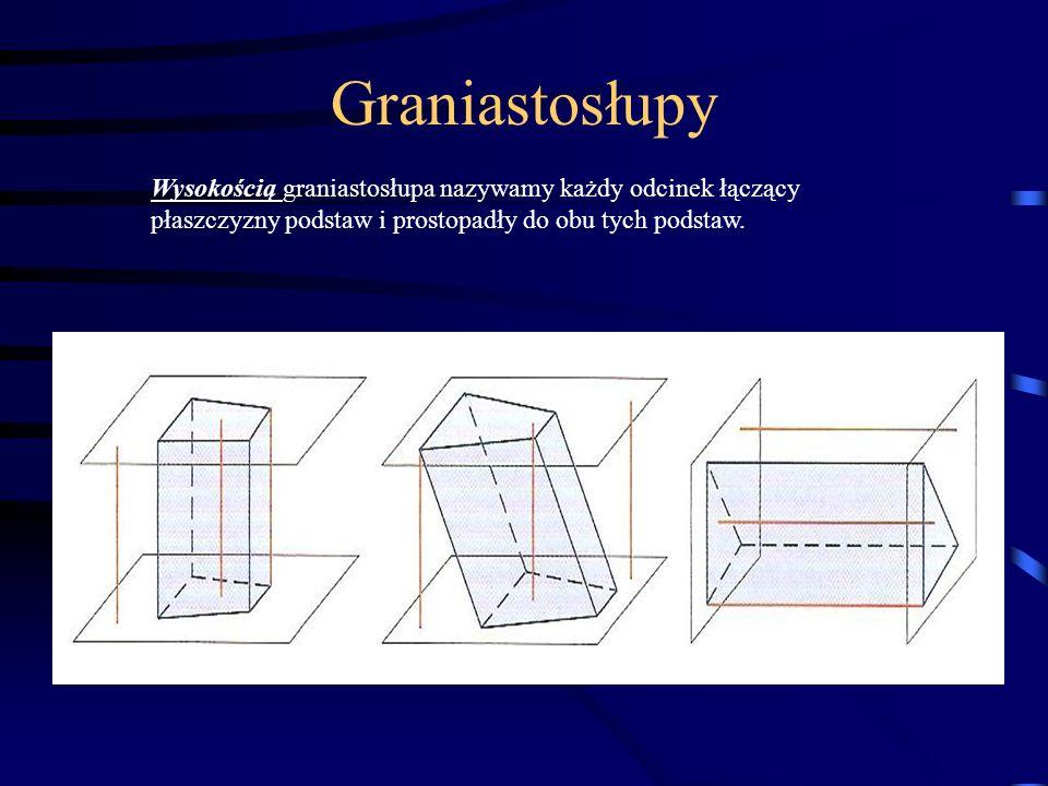 Graniastosłupy Wysokością graniastosłupa nazywamy każdy odcinek łączący płaszczyzny podstaw i prostopadły do obu tych podstaw.