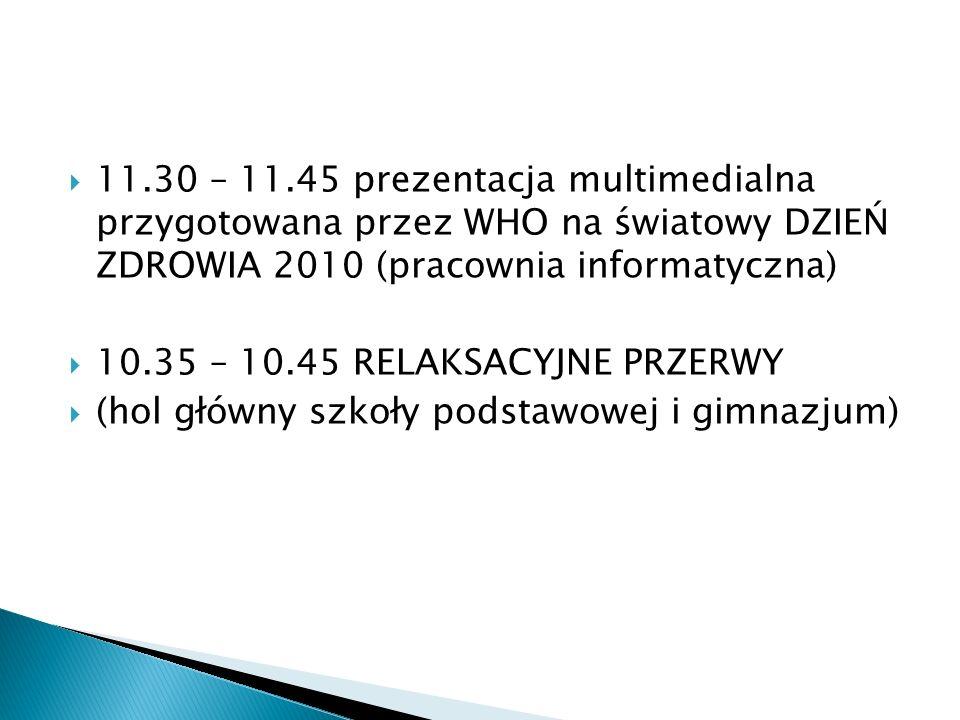 11.30 – 11.45 prezentacja multimedialna przygotowana przez WHO na światowy DZIEŃ ZDROWIA 2010 (pracownia informatyczna)