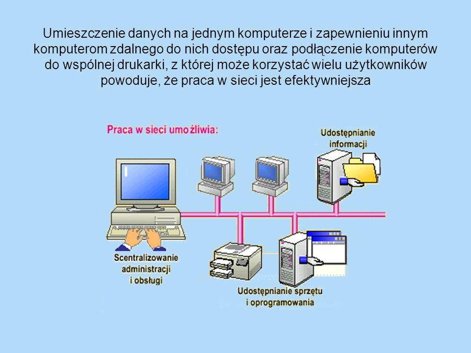 Umieszczenie danych na jednym komputerze i zapewnieniu innym komputerom zdalnego do nich dostępu oraz podłączenie komputerów do wspólnej drukarki, z której może korzystać wielu użytkowników powoduje, że praca w sieci jest efektywniejsza