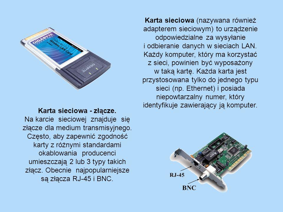 Karta sieciowa (nazywana również adapterem sieciowym) to urządzenie odpowiedzialne za wysyłanie i odbieranie danych w sieciach LAN. Każdy komputer, który ma korzystać z sieci, powinien być wyposażony w taką kartę. Każda karta jest przystosowana tylko do jednego typu sieci (np. Ethernet) i posiada niepowtarzalny numer, który identyfikuje zawierający ją komputer.