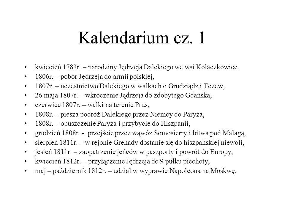 Kalendarium cz. 1kwiecień 1783r. – narodziny Jędrzeja Dalekiego we wsi Kołaczkowice, 1806r. – pobór Jędrzeja do armii polskiej,