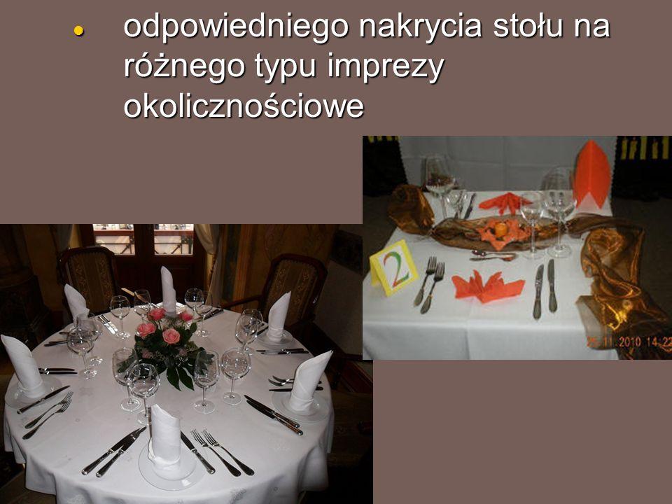 odpowiedniego nakrycia stołu na różnego typu imprezy okolicznościowe