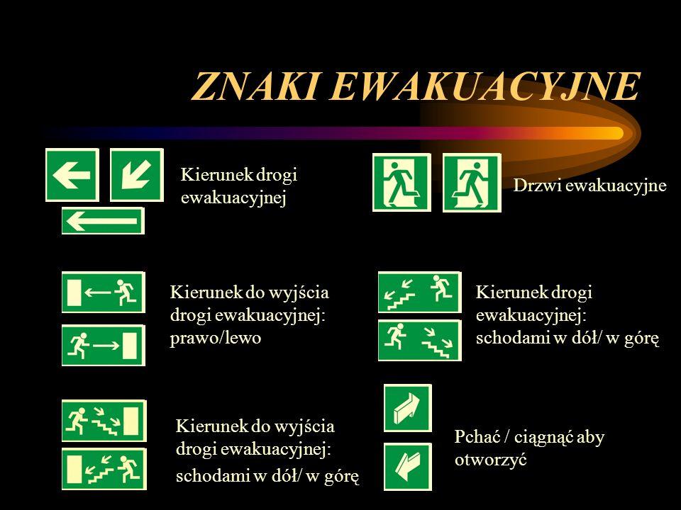 ZNAKI EWAKUACYJNE Kierunek drogi ewakuacyjnej Drzwi ewakuacyjne