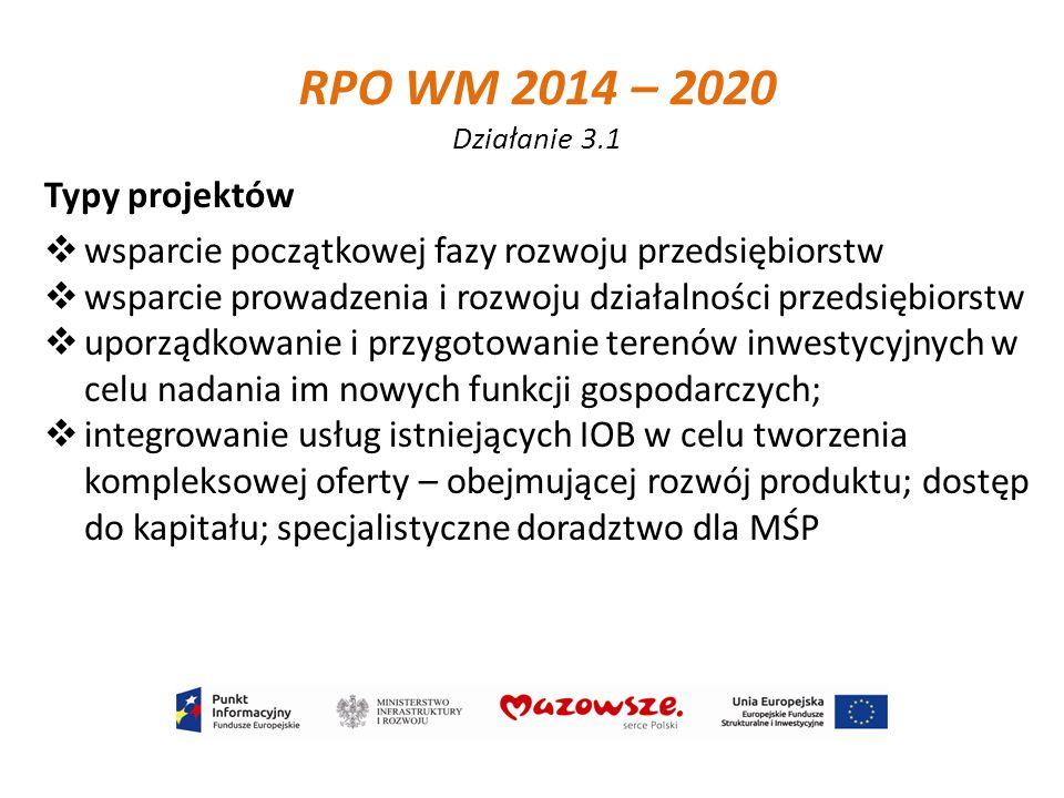 RPO WM 2014 – 2020 Działanie 3.1 Typy projektów