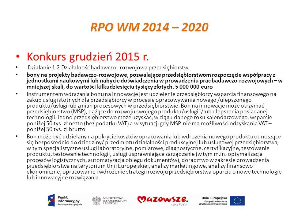 RPO WM 2014 – 2020 Konkurs grudzień 2015 r.