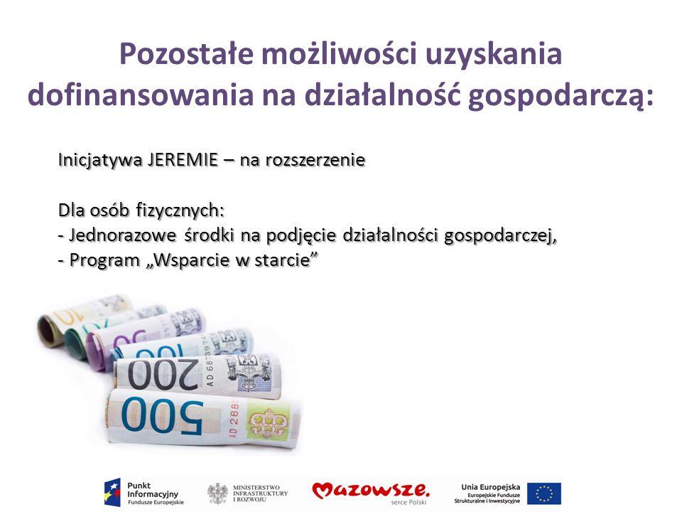 Pozostałe możliwości uzyskania dofinansowania na działalność gospodarczą: