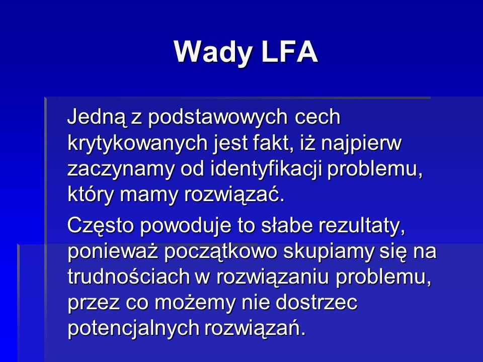 Wady LFA Jedną z podstawowych cech krytykowanych jest fakt, iż najpierw zaczynamy od identyfikacji problemu, który mamy rozwiązać.