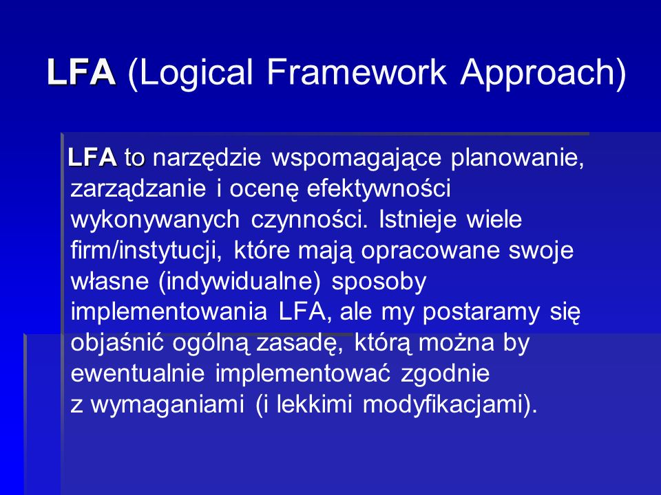 LFA (Logical Framework Approach)