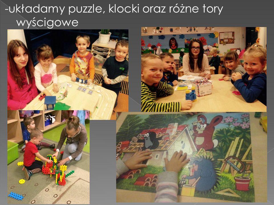 -układamy puzzle, klocki oraz różne tory wyścigowe