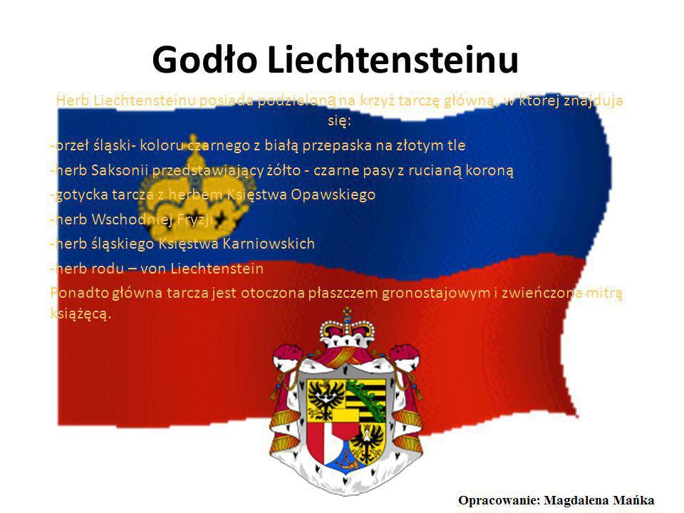 Godło LiechtensteinuHerb Liechtensteinu posiada podzieloną na krzyż tarczę główną, w której znajduja się: