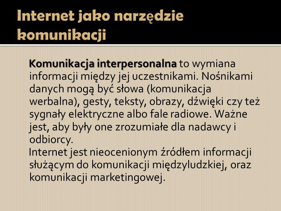 Internet jako narzędzie komunikacji