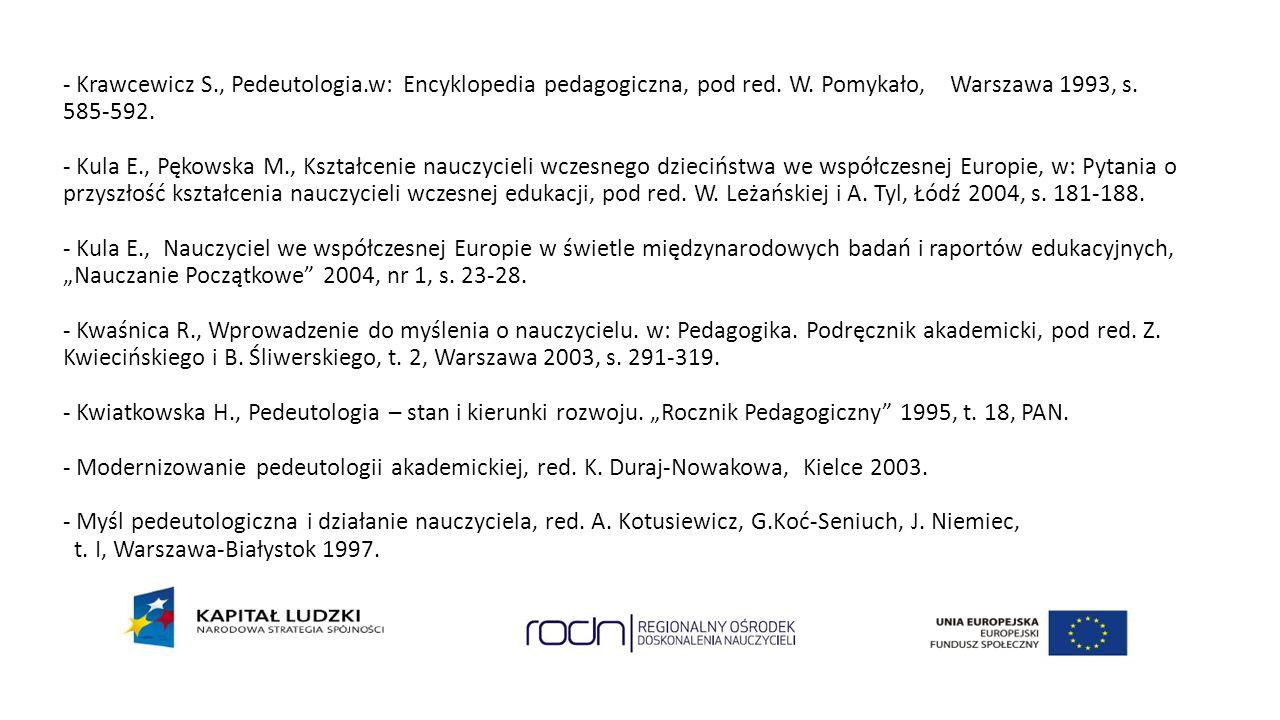 - Krawcewicz S. , Pedeutologia. w: Encyklopedia pedagogiczna, pod red