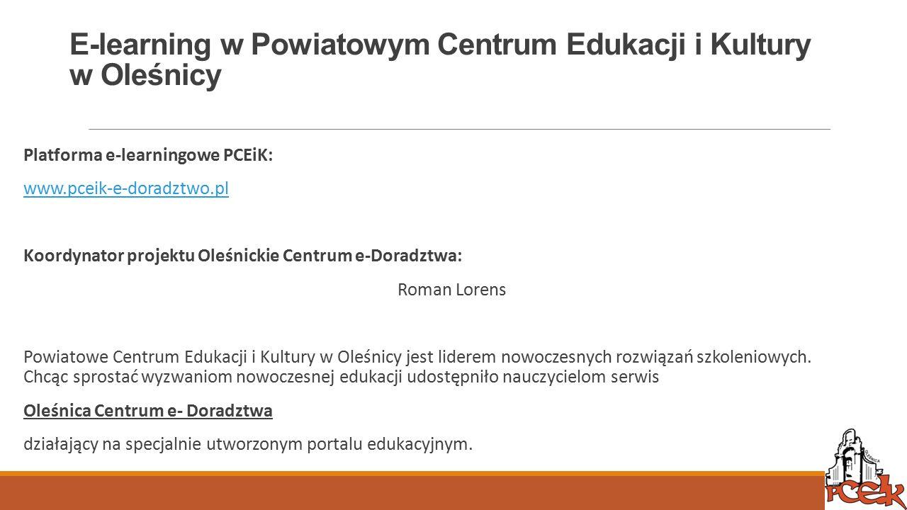 E-learning w Powiatowym Centrum Edukacji i Kultury w Oleśnicy
