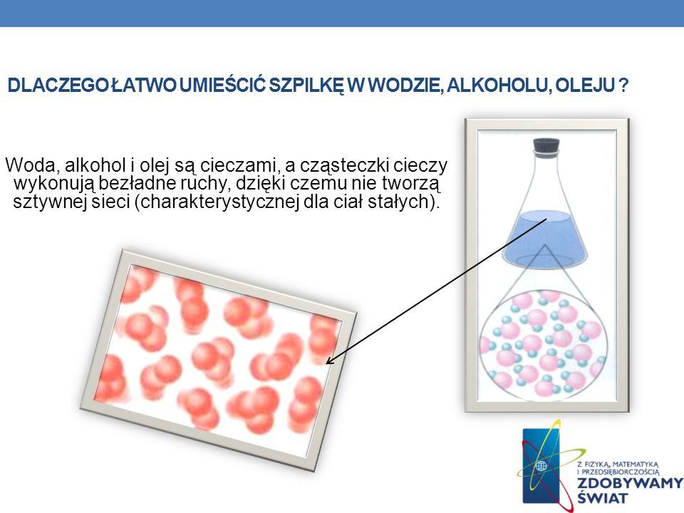 Dlaczego łatwo umieścić szpilkę w wodzie, alkoholu, oleju